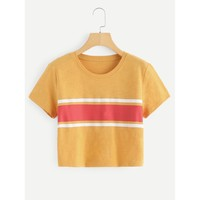 Contrast Striped Crop Tee Yellow