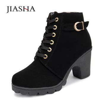 JIASHA - Lace Up Chunky Heeled Ankle Boot with Gold Buckle Detail*