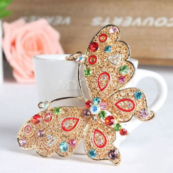 Multi-color Butterfly Keyring Crystal Charm Pendant Purse Bag Key Chain Gift