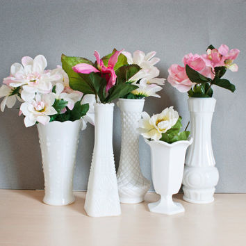Instant Collection 5 Milk Glass Vases, Fancy White Bud Vaases, for Weddings and Baby Showers Cottage Chic, Vintage Wedding, Classic White