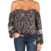 Off The Shoulder Mixed Paisley Pattern Top - Black/White /