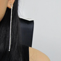 Icy Clear Rhinestone Thread Earring 'Clip on Earring' R3R Shoulder Duster Silver Thin Line wedding clip on earring non pierced earring