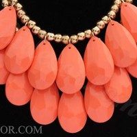 Coral Necklace Two Layer Teardrop Necklace Statement Necklace Bib Necklace