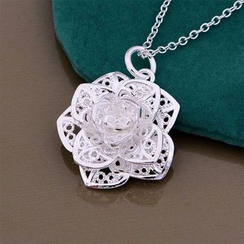 Rose Pendant Necklace  Silver plated Jewelry