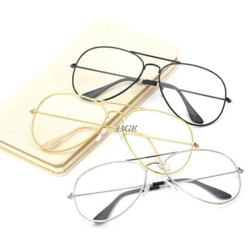 2017 Fashion Large Retro Metal Clear Lens Glasses Designer Tear Drop Frame Eyeglasses   JUN7_45