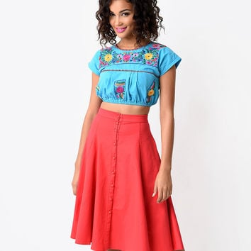 Vintage Style Turquoise Mexican Embroidered Crop Top