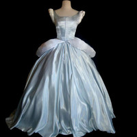 Princess Cinderella Costume Silver Misty Blue Ballgown Dress Custom Made Costume With Black velvet choker