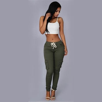 Spring&Summer casual pants women Multi Pocket High Waist Pants slim and sexy Pencil Pants Capris Women Long Trousers 2017