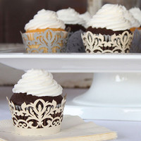 Classic Damask Filigree Paper Cupcake Wrappers