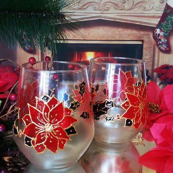 Set of 2 winter hand painted stemless wine Christmas Poinsettia glasses