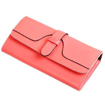 2018HOT!Simple Design Large Capacity Leather Clutch Checkbook Wallet Card Holder Purse For  women's purse Woman Wallet Long #Zer