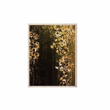 "Ebi Emporium ""THE DARK GARDEN 1"" Gold Black Abstract Floral Painting Mixed Media KESS Naturals Canvas (Frame not Included)"