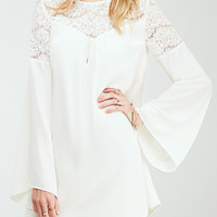 White Bell Sleeve Lace Accent A-Line Mini Dress