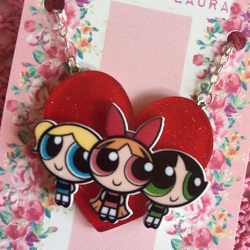 Cute pin up red glitter heart Powerpuff Girls acrylic resin pendant necklace, handmade by Vintage Laura xx