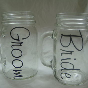 Bride and Groom 16 ozMason Jar Mugs-Weddings-Drinkware-Bridal Shower Gift