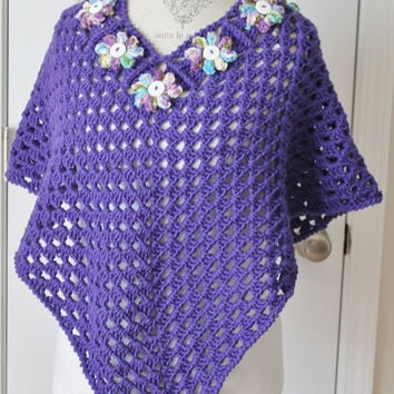 Crochet Flower Accent Shawl / Poncho Granny Square- Purple - Teen/Women Small