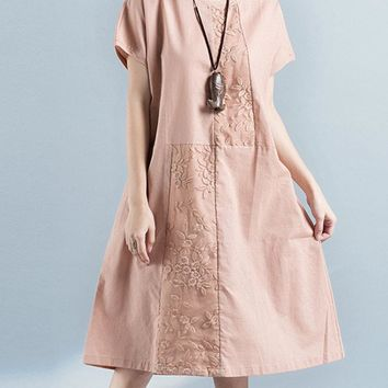 Flower Embroidery Casual Cotton Dresses