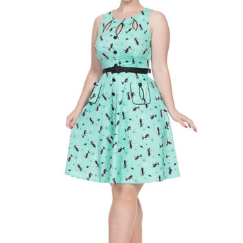 Voodoo Vixen Mint Retro Kitty Print Flare Dress