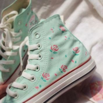 DCCK1IN hand painted shoes converse light green background plus pink flowers lovely floral