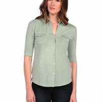 Majestic 3/4 Sleeve Pocket Button Down