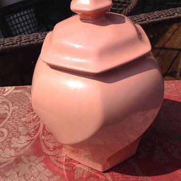 Biscuit Jar, Cookie Jar, Pale Peach Cookie Jar, Pale Pink Biscuit Jar, Vintage Cookie Jar Marked N,