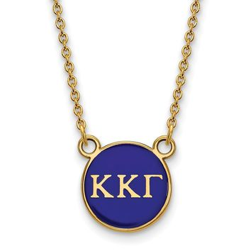 14K Plated Silver Kappa Kappa Gamma Small Enamel Necklace