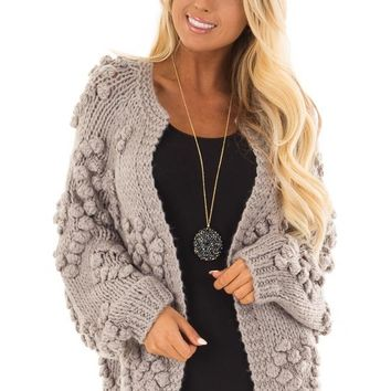 Heather Grey Open Front Cardigan with Pom Pom Detail