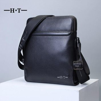 HT 100% Genuine Leather Messenger Bag Mans Crossbody Bags Brand New Business Style Shoulder Handbags Black Satchel Bolsa Male