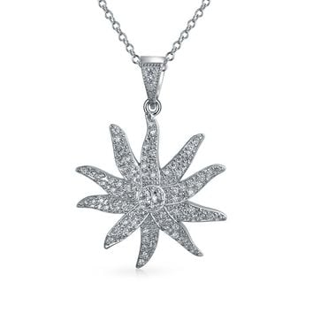 Sunburst Sun Ray CZ Pendant 925 Sterling Silver Pendant Necklace