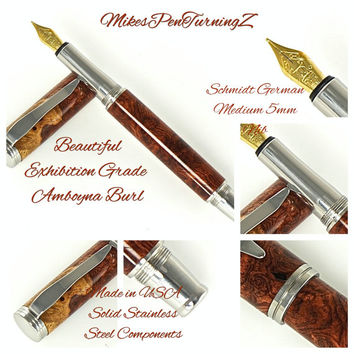 Custom Wooden Pen Custom Fountain Pen Gallery Grade Amboyna Burl Made In USA Stainless Steel Hardware 775FPSSA