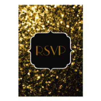 Beautiful Gold sparkles Sweet 16 RSVP vertical 3.5