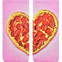Heart Pizza Ankle Socks