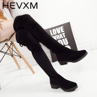 HEVXM New Arrivals Women Shoes Over Knee Thigh High Black Boots Female Motorcycle Flats Long Boots Low Heel Suede Leather Shoe