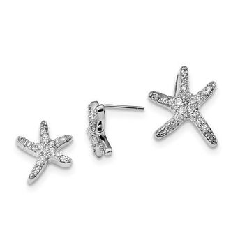 Sterling Silver CZ Starfish Earrings And Slide Pendant Set