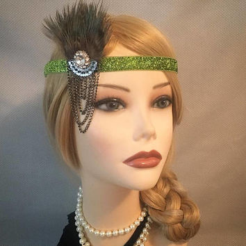 1920's Style Dark Green Sparkly 20s Inspired Headpiece Rhinestone Tassel Drape Art Deco Headband Adjustable Gatsby Halloween Head Band (692)