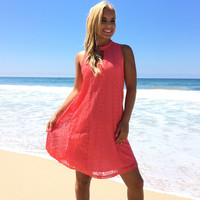 Desire Lace Shift Dress In Coral