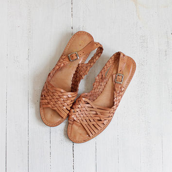 Vintage 70s Indian Woven Leather Huaraches | Women's 8.5