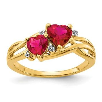14k Yellow Gold Lab Created Ruby And Diamond Double Heart Ring
