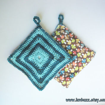 Crochet Trivet in Aqua and Teal Squares, set of two, granny square hot pads with backing, ready to ship.