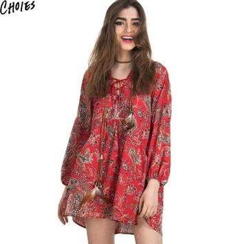 Women Red Lace Up V Neck Folk Boho Floral Print Vintage Crochet Insert Shift Dress New Summer Casual Loose Mini Dresses