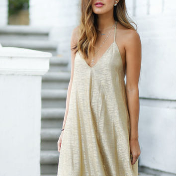 Asha Gold Slinky Dress