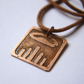 DRAGON Mayan Pendant ( Maya IMIX / Spanish DRAGON ). Galactic Symbol or Gliph or Sign Maya.Etched copper