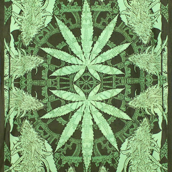 Sunshine Joy Hempest Marijuana Leaf Tapestry Beach Sheet Wall Art Huge 60x90 Inches
