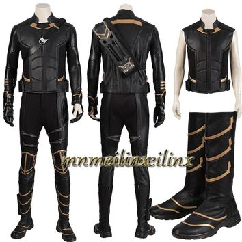 Movie Avengers 4 Endgame Bucky Barnes Hawkeye Ronin Clinton Cosplay Costume Halloween Suit Superhero Customize Boots Accessories