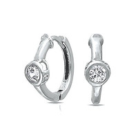 Christmas Gifts 4mm Solitaire CZ Small Huggie Hoop Earrings Sterling Silver