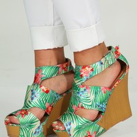 Among The Palm Trees Wedges: Multi - Wedges - Shoes - Hope's Boutique