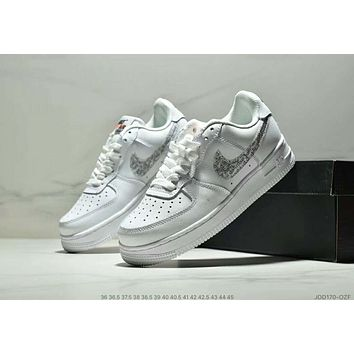 NIKE AIR FORCE 1 Tide brand men and women models low to help wild fashion shoes shoes white+silver hook