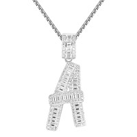 Sterling Silver Custom Baguette Iced Out A-Z Initials
