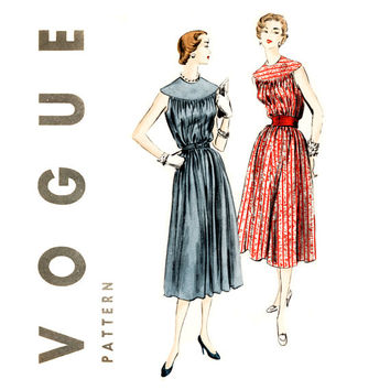 1950s Trapeze Chemise Dress Pattern Bust 32 Vogue 7947 Easy To Sew Sleeveless Yoked Tent Dress Choir Boy Yoke Womens Vintage Sewing Patterns