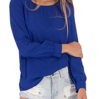 Blue Long Sleeve Blouse with Zip Up Back